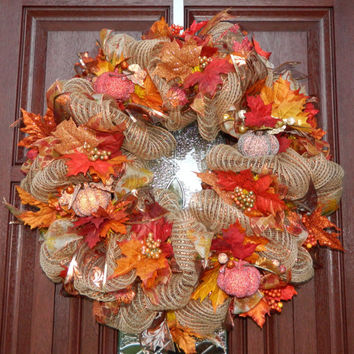 Fall Deco Mesh Wreath, Pumpkin Wreath, Autumn Wreath, Harvest Wreath, Fall Decor, Harvest, Thanksgiving, Orange tan red yellow gold wreath