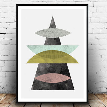 Moutnains print, Geoemtric art, Abstract print, Watercolor print, Mid century art, Nordic design, Wall print, Home decor, modern art, simple