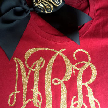 Glitter Monogram T Shirt with Glitter Monogram Cheer Bow, Monogrammed gift set, Cheerleaders, Teens, Girls, Monogrammed Tops