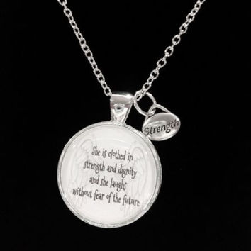 Bible Scripture Verse Proverbs 31:25 She Is Clothed In Strength Gift Necklace