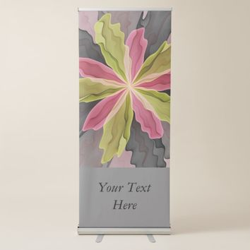 Joy, Pink Green Anthracite Fantasy Flower Text Retractable Banner