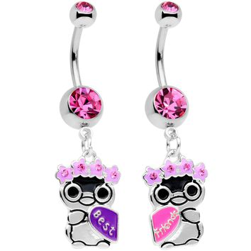 Pink Gem BFF Penguins Dangle Belly Ring Set