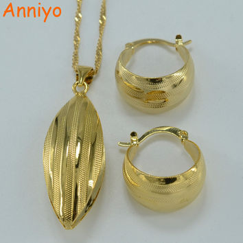 Anniyo Ethiopian set Jewelry Pendant Necklace Earring Gold Color African Bridal Wedding Jewellery Arab #054806