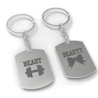 Beauty and Beast Couple Key Chain- His and Hers Key Rings, Couple Keychains