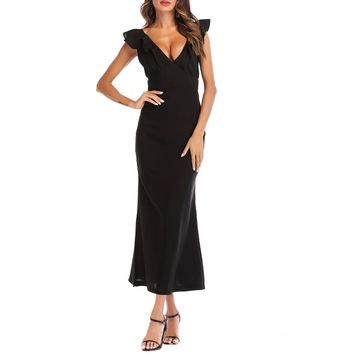 SUNNOW 2018 Women's Summer Solid Color Butterfly Sleeve V-Neck Maxi Casual Long Elegant Dress