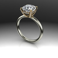 Forever Brilliant Moissanite and Diamond Covered Two Tone Engagement Ring 2.61 CTW