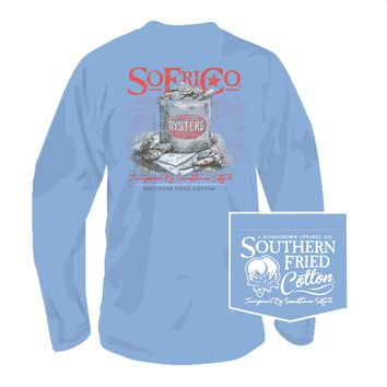 Bucket O' Oysters Long Sleeve Tee in Faded Jeans by Southern Fried Cotton