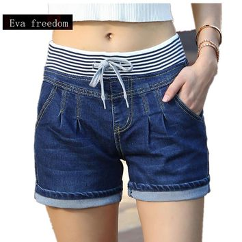 Plus Size was thin short 2017 Casual High Waist Shorts Women High Waisted Denim Shorts Elastic Waist Jeans Shorts W985