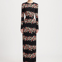 Dolce & Gabbana - Floral Print Long-Sleeve Gown