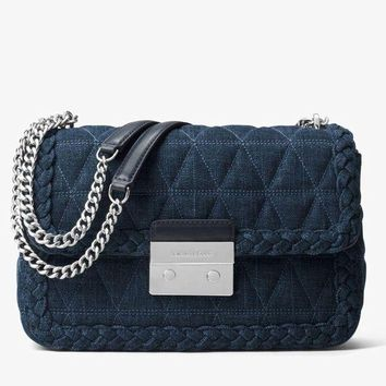 LMFON Michael kors Sloan Large Quilted-Denim Shoulder Bag in Indigo