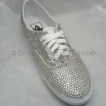 Glitzy Bling Sparkle Rhinestone Crystal Vans trainers, Wedding Prom Romany