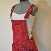 Red Low Waist Bib OVERALLS  - Hand Dyed Red Highway Denim Overall Shorts - Boho Rocker Hipster - Size 7 Medium (34 waist)