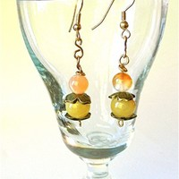 Honey Jade Peach Carnelian Beads on Bronze with Gold Filled Ear Wires