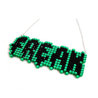 Sparkly FREAK Necklace - Neon Green & Black or Your Custom Crystal Colours -  Circus Freakshow and Horror Inspired - Psychobilly Punk Weird
