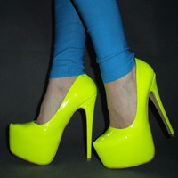 Women Hot Neon color sexy 16CM ultra High heel Pumps/Pink yellow platform party shoes Size 35-45 = 5708941697