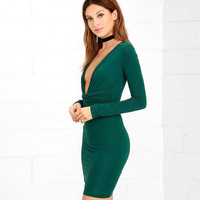V Neck Bodycon Party Cocktail Dress B0013645