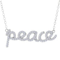 Peace Logo With Cz Necklace In Rhodium Plated Sterling Silver - 18 Inches