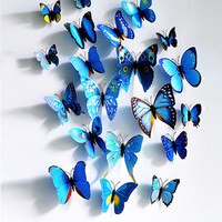 Colorful 12 PCS Three Dimensional Butterfly Decoration