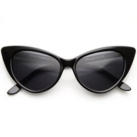 Black Retro Cat Eye Pearl Studded Sunglasses By Belle Donne