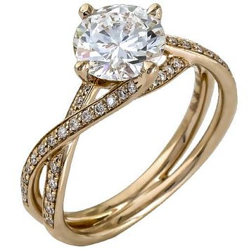 "Simon G. Round Cut ""Twist"" Split Shank Diamond Engagement Ring"