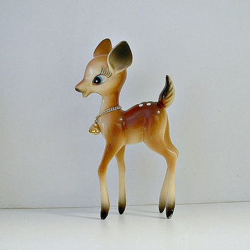 Vintage Deer Figurine Fawn Doe with Bells Hard Plastic Hong Kong Bambi Christmas