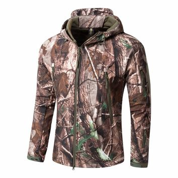 Men Bionic Camouflage Hunting Jacket Water-repellant Hooded Softshell with Fleece Outdoor Tactical lHiking Jacket Hunting Jacket