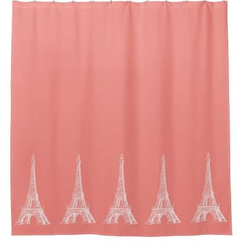 Paris Eiffel Tower Coral Shower Curtain