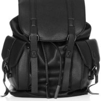 Grainy Faux Leather Pocket Backpack - Black