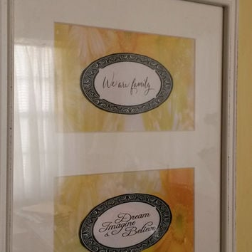 Up-Cycled Cottage Chic Distressed Wooden Frame - 'We Are Family' Wall Decor - White and Yellow Color Combination