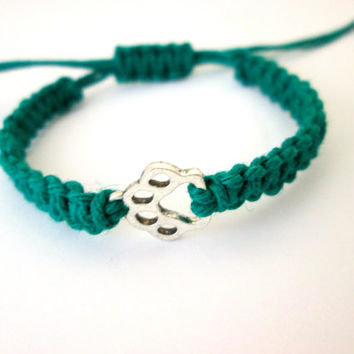 Paw Bracelet, Green Hemp Bracelet, Friendship Bracelet, Unisex Hemp Jewelry