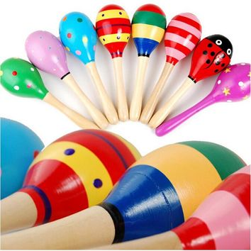 3pcs/lot Mini Wooden Ball Baby Boys Girls Toys Percussion Musical Instruments Sand Hammer 12cm