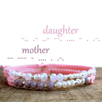 MOTHER and DAUGHTER bracelet gifts, Mommy and me, mothers day, matching set, custom message jewelry, crystal, morse code