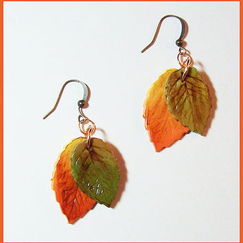 Autumn Leaves Earrings handcrafted polymer clay antiqued orange yellow & green 14 KT Gold Filled earwires