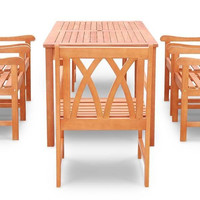 Vifah V189Set19-Eco-Friendly 7-Piece Outdoor dining Set With table And Arm Chairs
