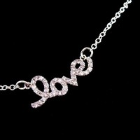Teresa Giudice LOVE Necklace Silver Cubic Zirconia - Wedding Jewelry | Handmade Jewelry | Bridal