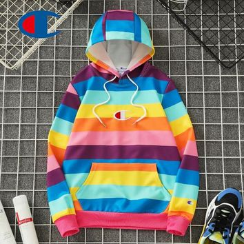 GUCCI hot seller of striped rainbow embroidered hoodies for couples