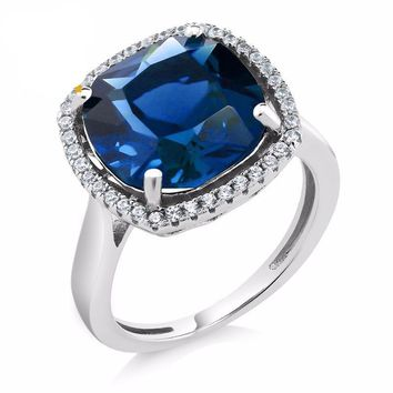 Simulated Sapphire, Vintage, Sterling Silver, Halo ring, 4 Ct Cushion Cut  Women's Ring