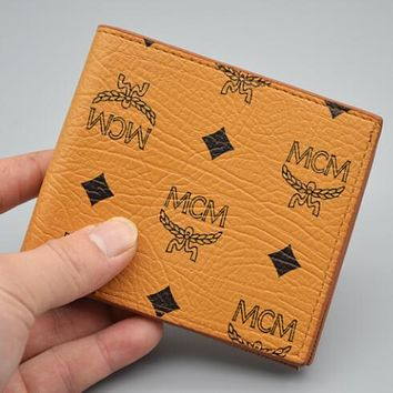 MCM Newest Popular Women Shopping Leather Folding Wallet Purse Red