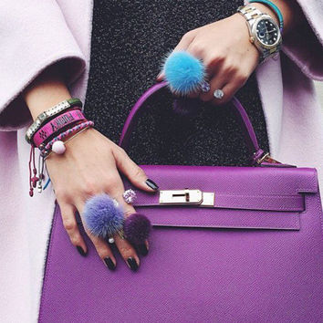 Fashion Jewelry Resizable Mink Fur Ball Ring Mink Fur Pompoms Silver Rings for Women and Girl