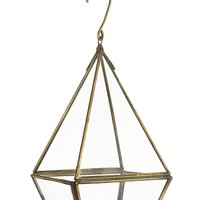 "Glass Hanging Candle Lantern Terrarium in Gold - 8"" Tall"