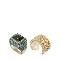 ASOS Vintage Style Cocktail Ring & Chain Link Band Pack