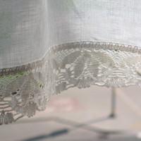 White Curtains Vintage Lace Curtains Cafe Curtains Washed Linen White Kitchen Curtains Lace Panels Curtains