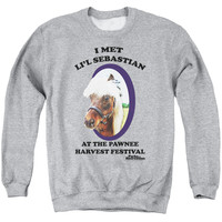 PARKS & REC/LI'L SEBASTIAN - ADULT CREWNECK SWEATSHIRT - ATHLETIC HEATHER -