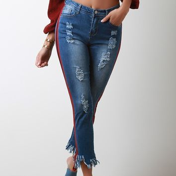 Ribbon Striped Fray Hem Denim Jeans