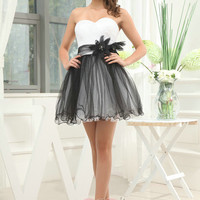 Custom Handmade Sweetheart White AND Black Piping Flower Short Prom/Evening/Party/Bridesmaid/Cocktail/Homecoming Dress Gown