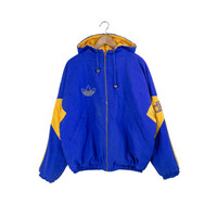 PUFFY ADIDAS JACKET / quilted lining / trefoil / blue / yellow / zip up / hooded / adidas hoodie / 90s vintage / mens / medium