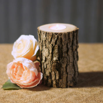 Log Candle Holder - Rustic Decor - Tealight Holder