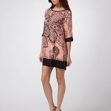 PRINT TUNIC DRESS (NP_N30384-P_PEACH)