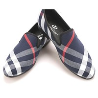 Blue and white plaid canvas shoes luxurious men loafers black pig leather insole men 's casual shoes men's flats
