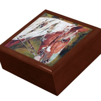 Keepsake/Jewelry Box - Horse Head Ceramic Tile Lid
